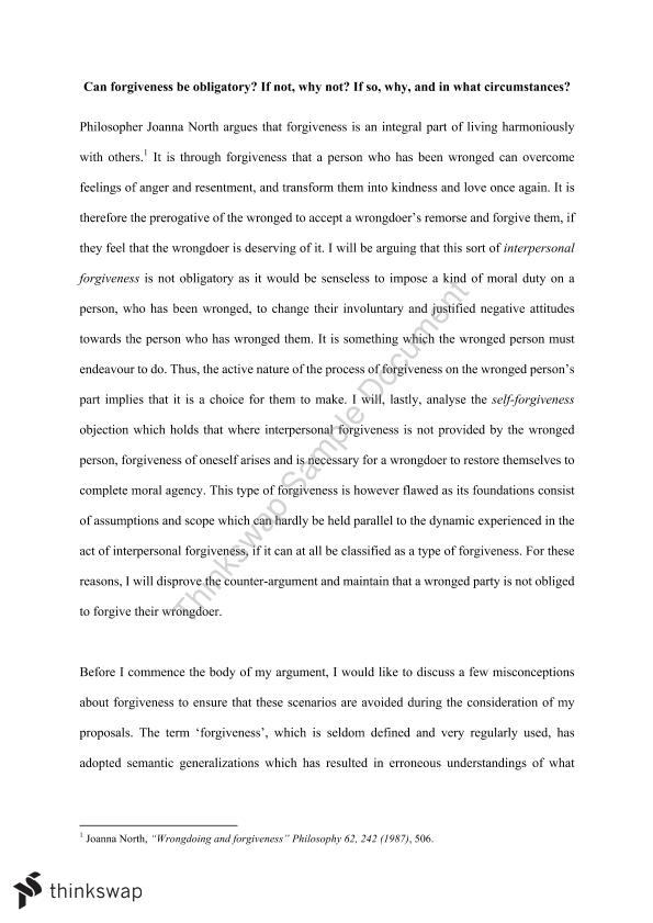 Essay on the Morality of Forgiveness - Page 1
