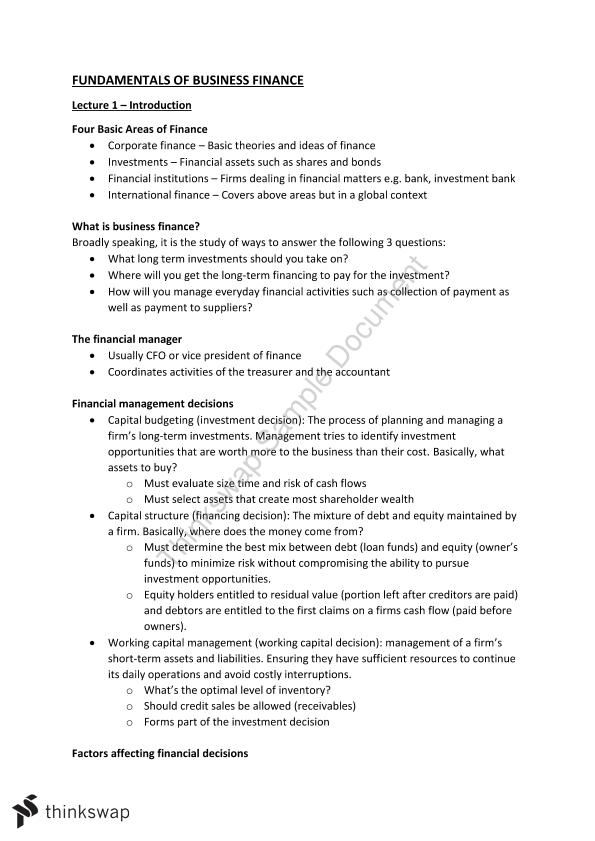 Fundamentals of Business Finance Study Notes - Lectures 1-6