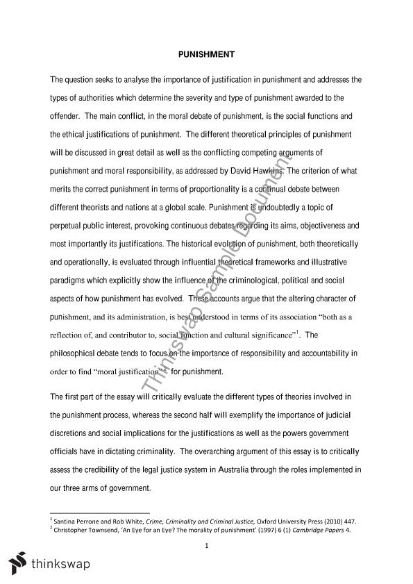 4500 word essay on the topic of punishment in the context of legal theory.