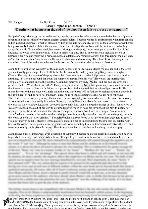 medea text response essay year vce english thinkswap english unit 3 4 exemplar essay medea by euripides
