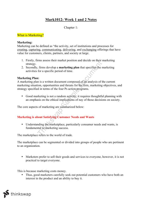 Week 1 & 2 Mark1012 Notes  - Page 1