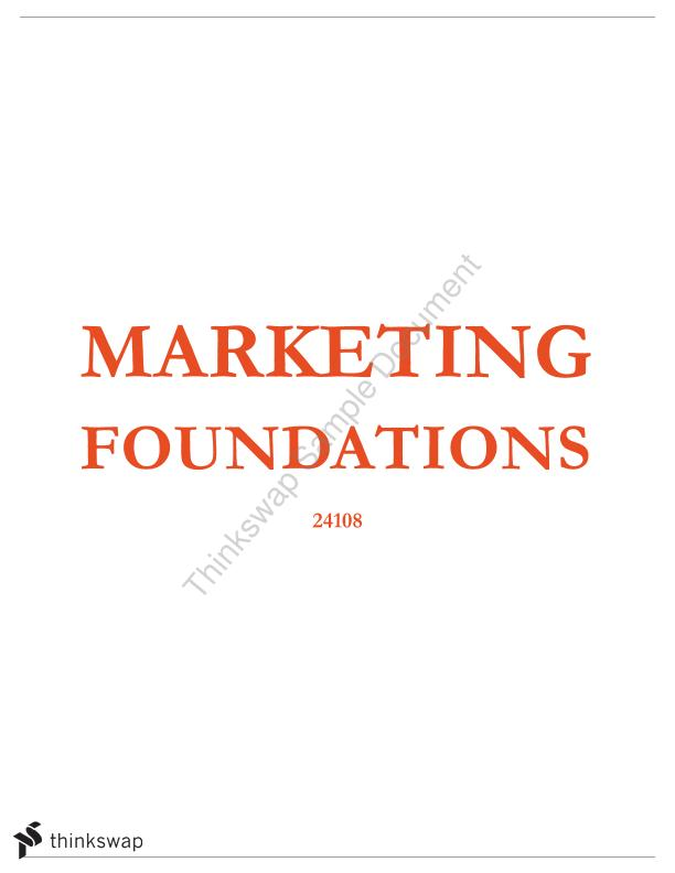 Marketing Foundations Comprehensive Notes (up to and including services, social and not-for-profit marketing)