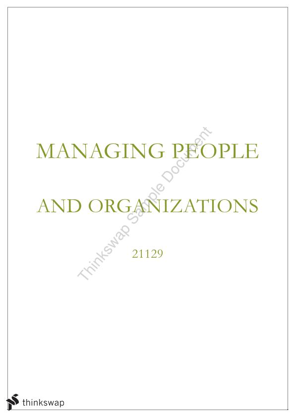 Comprehensive Managing People and Organisations Notes (up to and including Managing Globalisation)