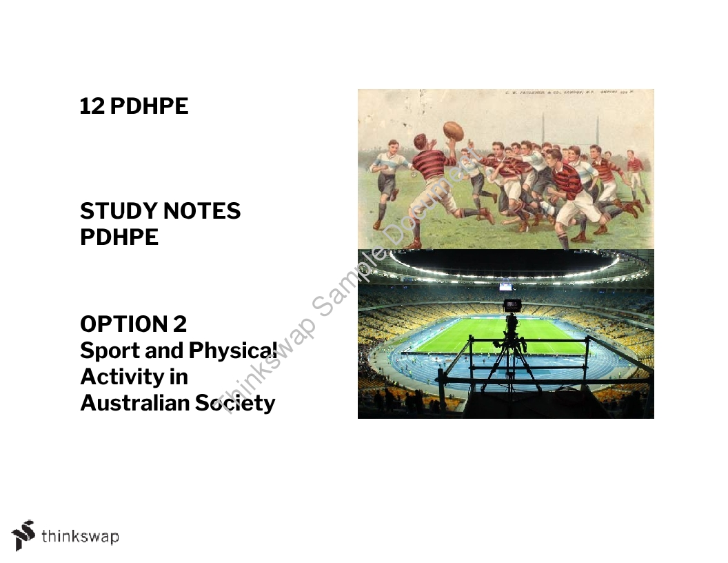PDHPE Option 2 - Sport and Physical Activity in Australian Society - Whole Study Notes