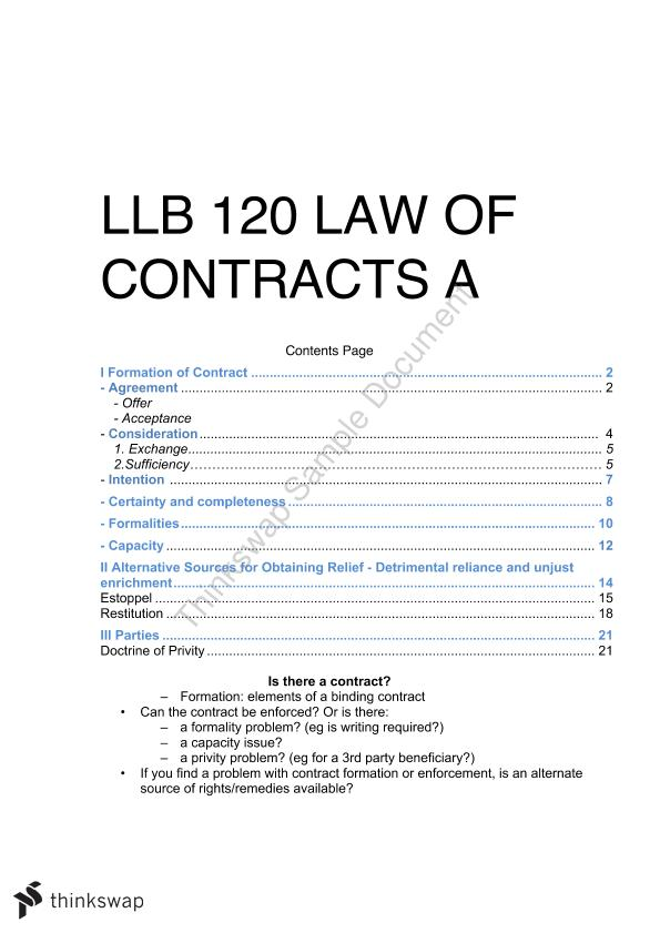 Law of Contract A Complete Exam Notes