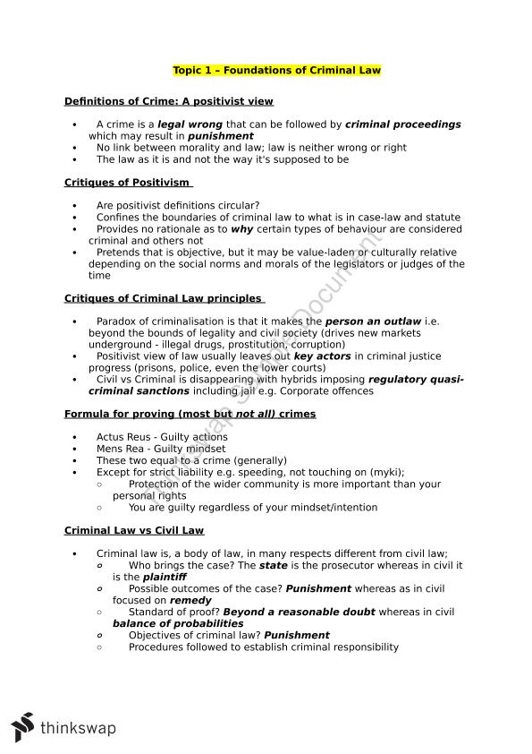 LAW1114 Criminal Law 1 Complete Summary Notes