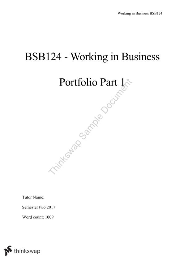bsb124 portfolio essay Professional portfolio introduction statement introduction my whole life i have strived to better myself through learning new things.