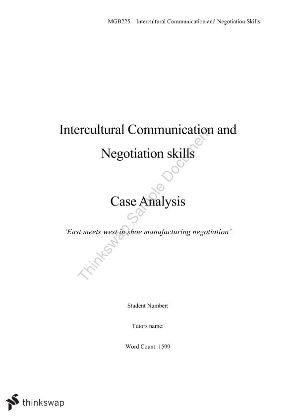 Case Analysis 'East Meets West in Shoe Manufacturing Negotiation' - Page 1