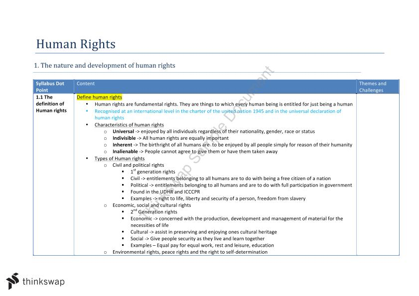 Legal Studies Human Rights znotes
