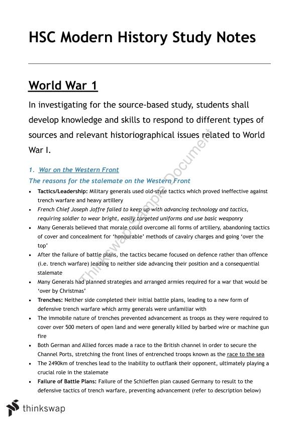 Complete HSC Modern History Study Notes