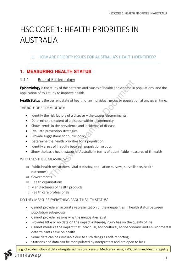 Core 1 PDHPE - Health Priorities in Australia