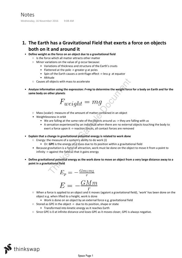 Physics - Space HSC notes - Page 1