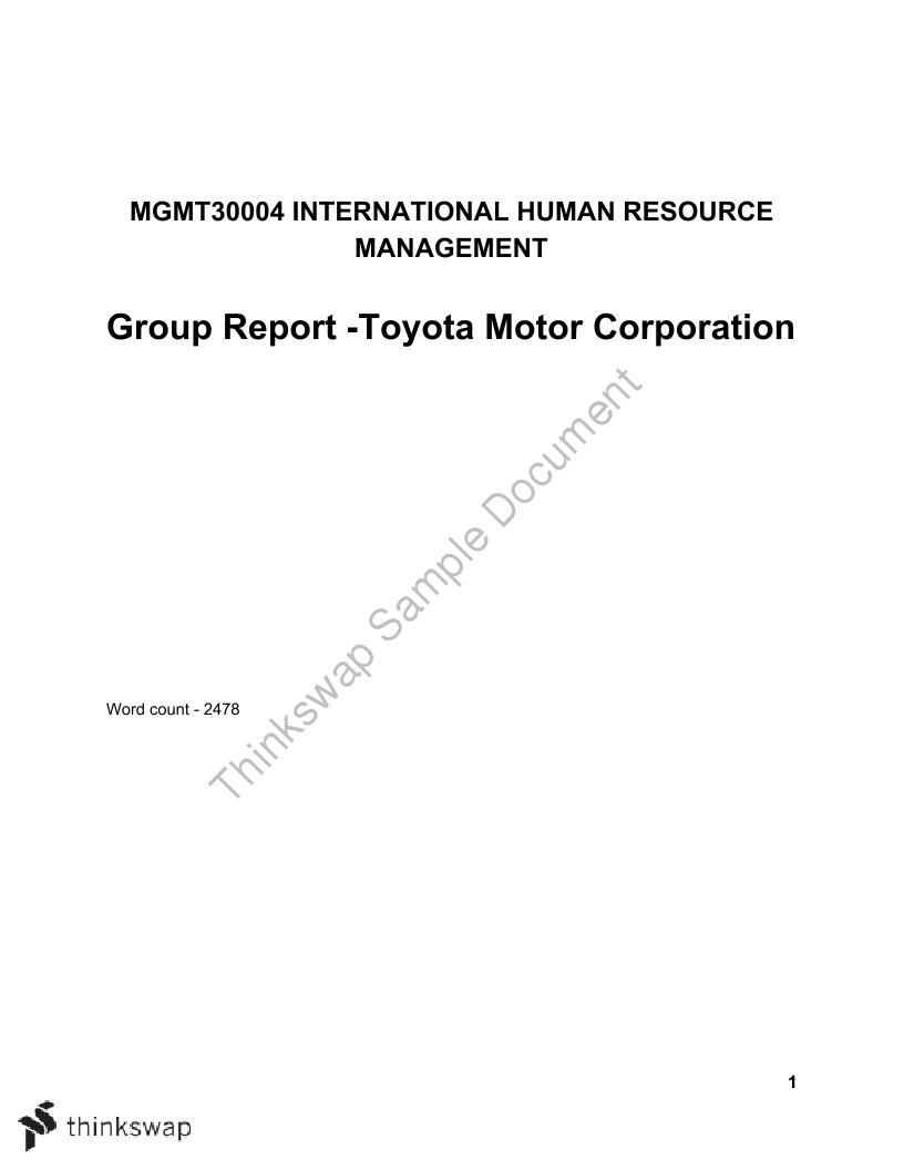 report on toyota company
