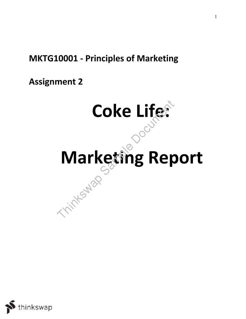 Assignment 2 - Marketing Report Coke Life