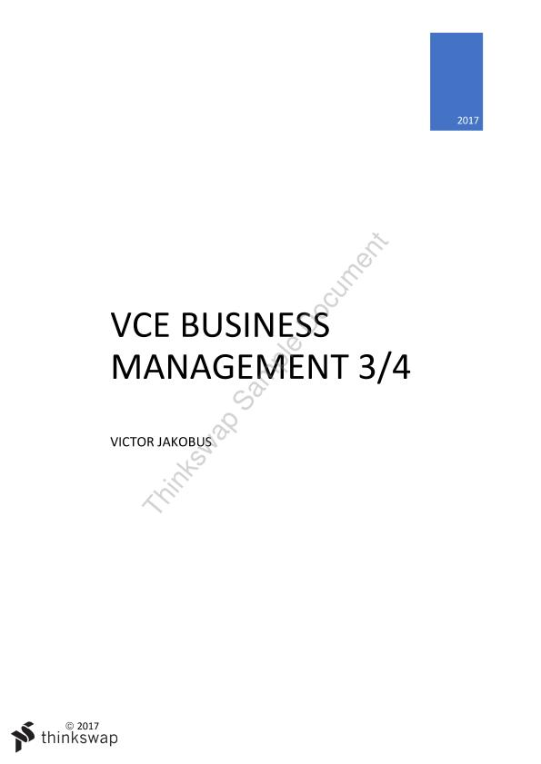 VCE Business Management Units 3/4 Study Notes (2017 Study design)