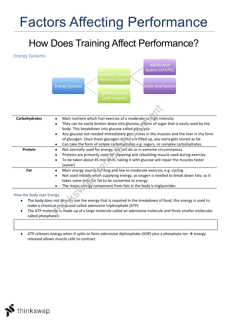 Factors Affecting Performance PDHPE Notes