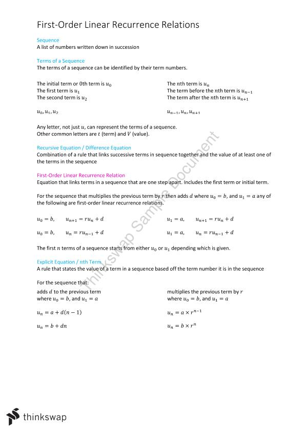 VCE Higher Math Recursion and Financial Modelling Notes