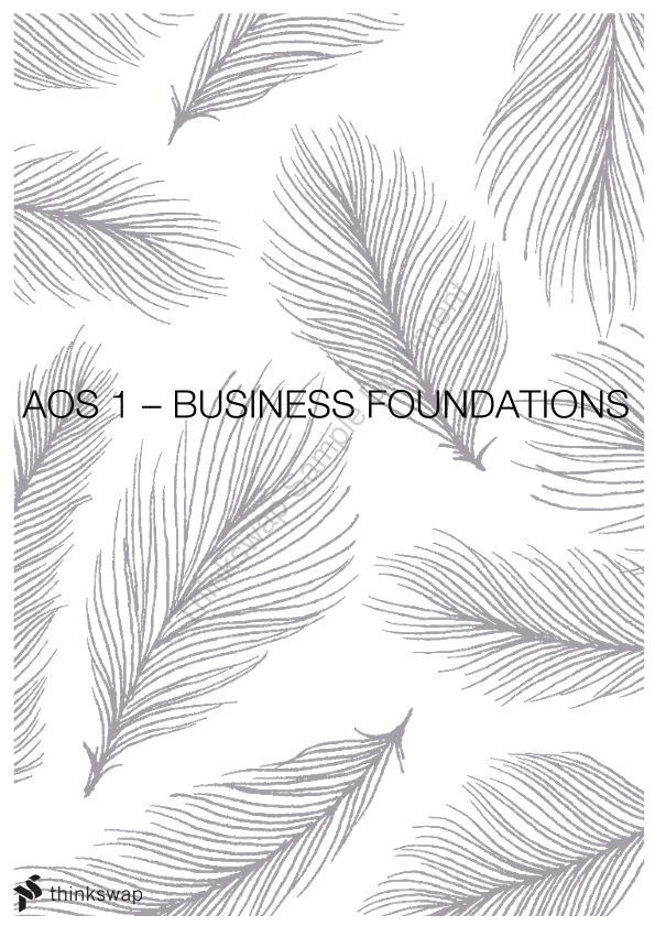 Unit 3 AOS 1 - Business Foundations - Page 1