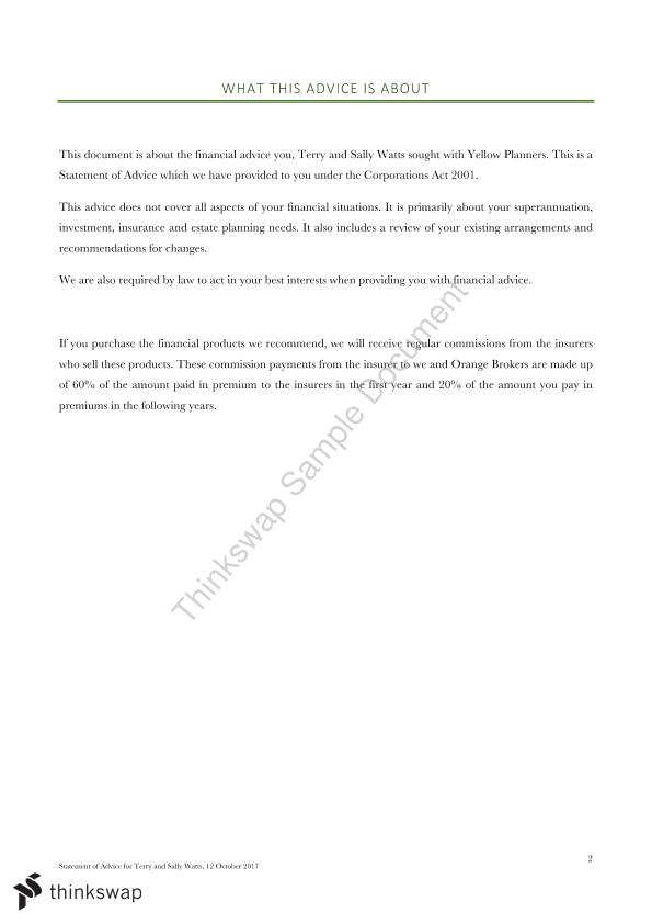 Statement of Advice - Wealth Management  - Page 1