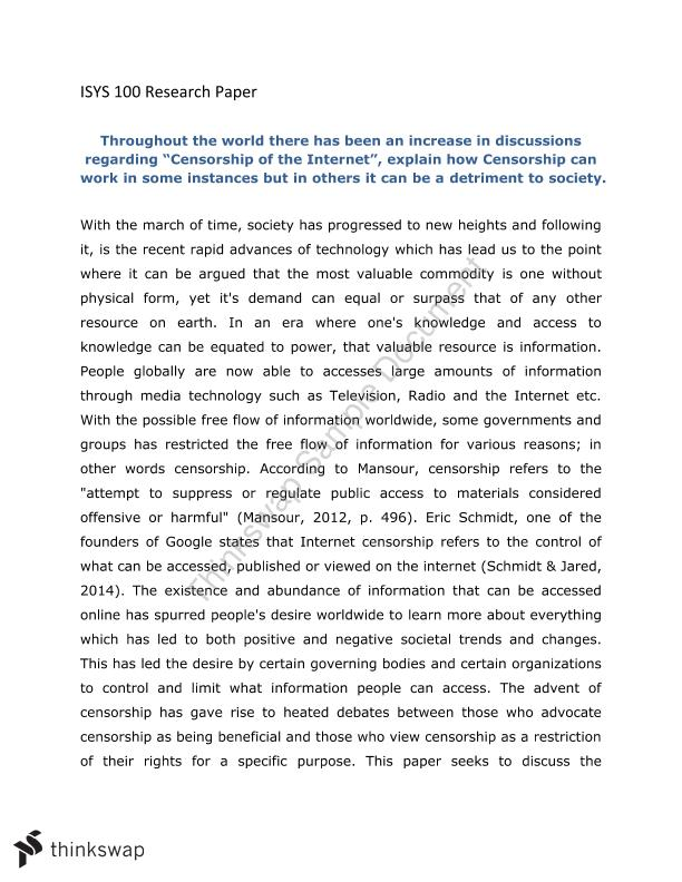 internet censorship term paper Essay on censorship and freedom of speech censorship of the internet violates the first amendment of this paper will explore the issue of whether the.