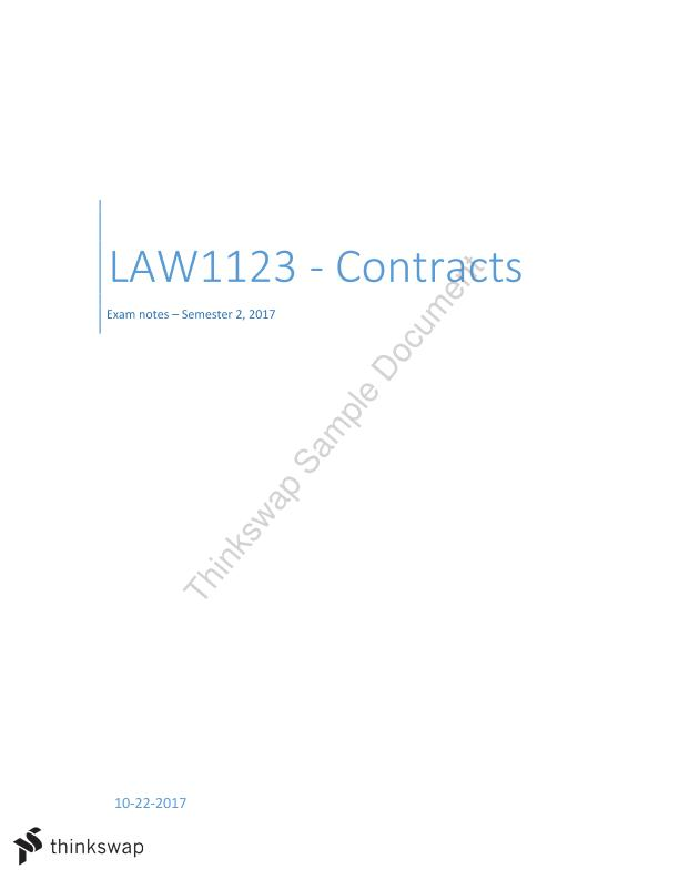 LAW1123 Civil Obligations B - Contracts