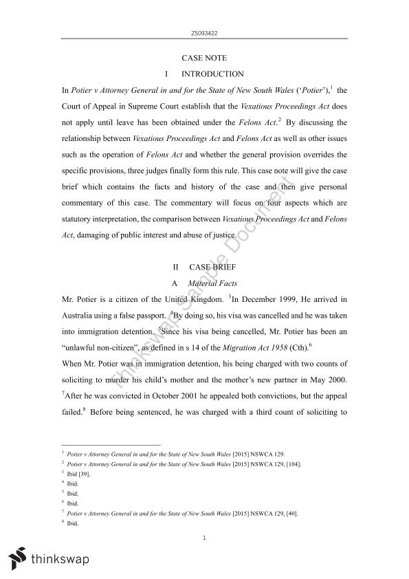 ILJ Case Note - Final Take Home Exam  - Page 1