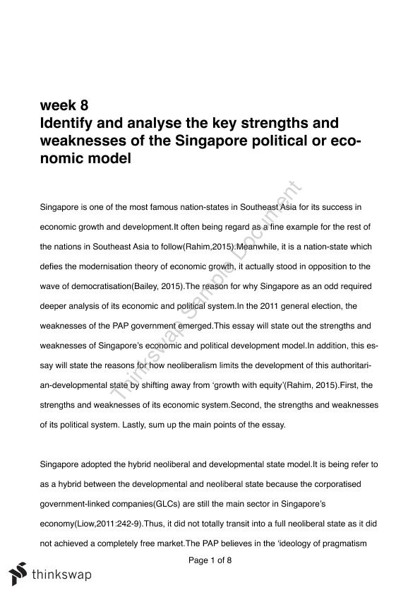 Identify and Analyse the Key Strengths and Weaknesses of the Singapore Political or Economic Model