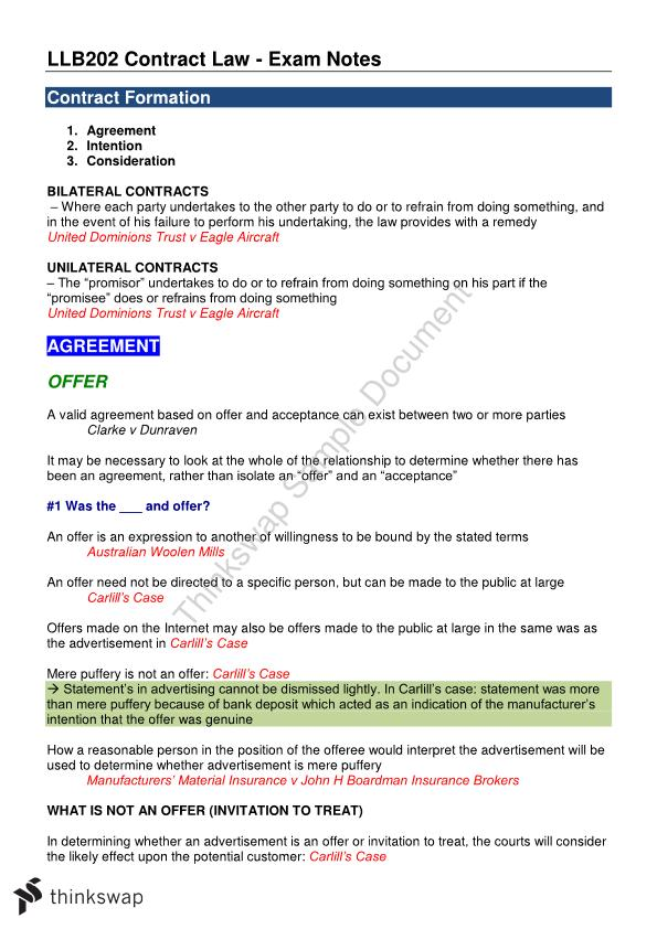 Exam Notes - Contract Law (LLB202)