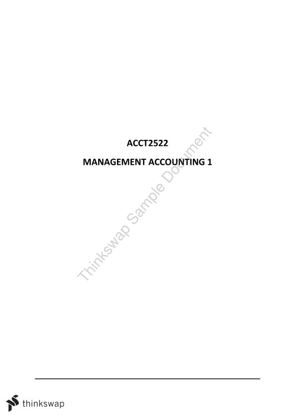 Completed Study Notes for Management Accounting 1