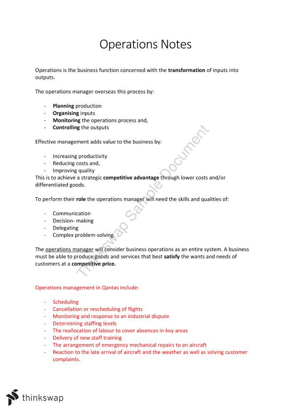 Operations Notes + Qantas Case study - Page 1
