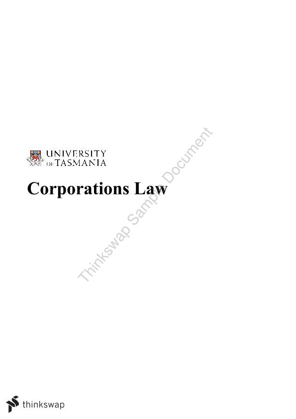 Corporations Law- Comprehensive Summary - Page 1