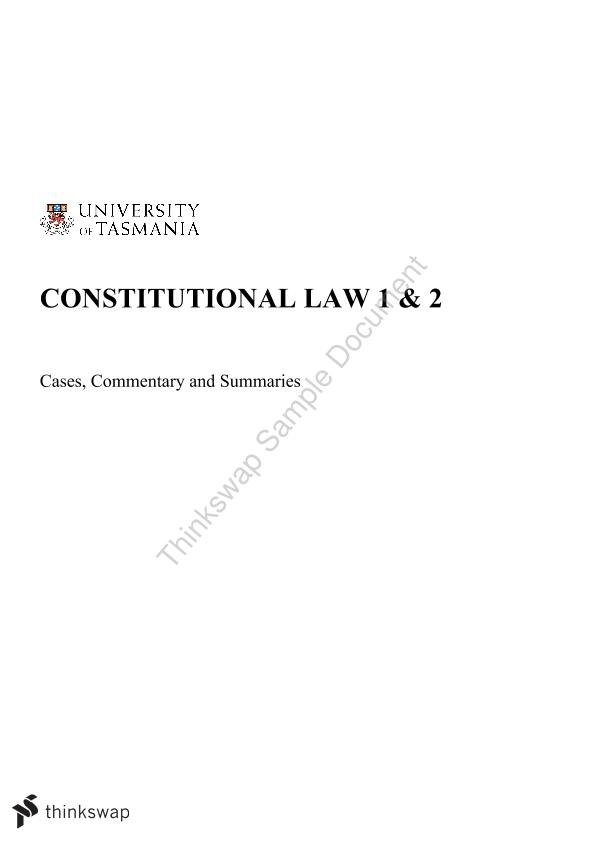 Constitutional Law Exam Summary Notes