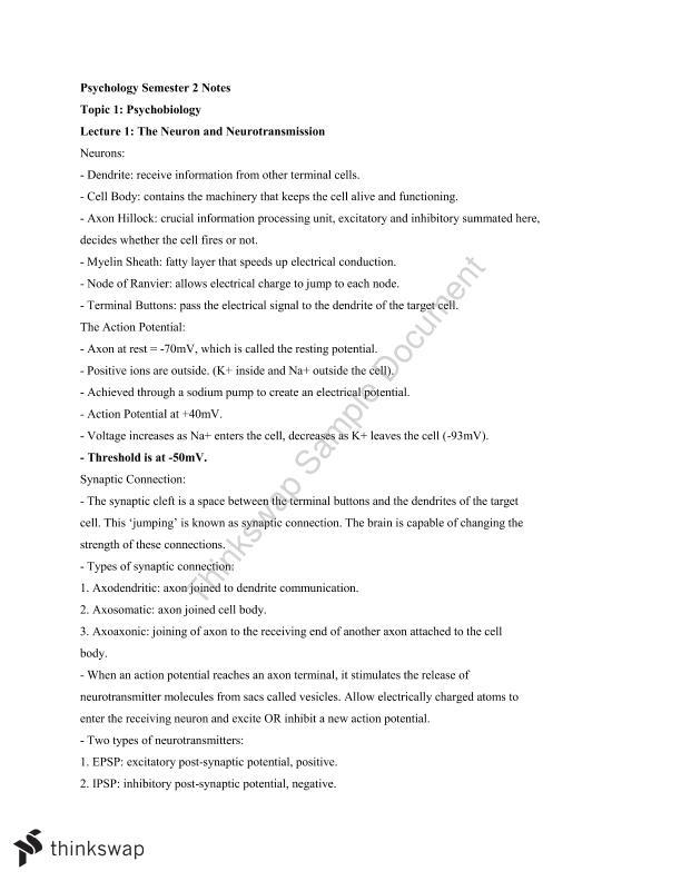 PSYC1011 Complete Lecture Notes - Page 2
