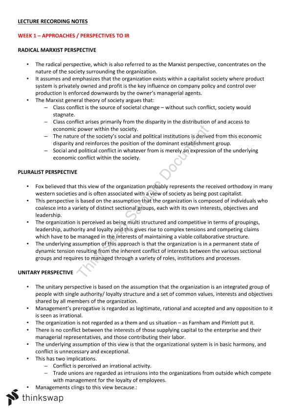 Employment Relations Study Notes