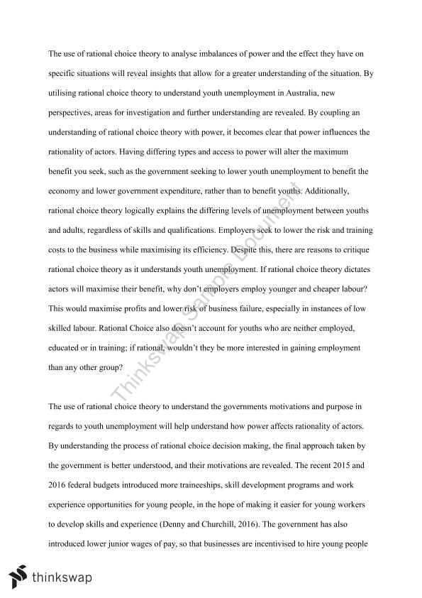 Full Research Essay: Understanding Youth Unemployment Through Liberalism and Rational Choice Theory