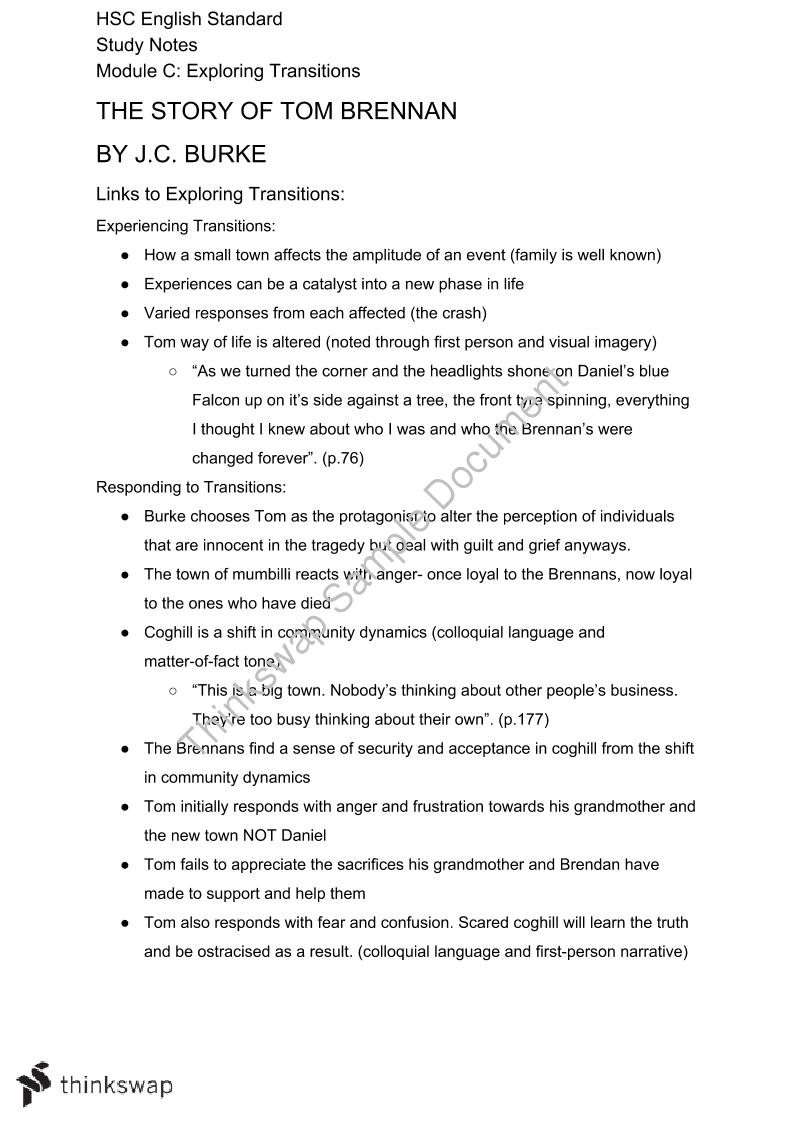 related text for tom brennan essay New or experienced teachers who have either taught 'the story of tom brennan' before or who are about to teach it  session 2 ~ deconstruction of prescribed text – 'the story of tom brennan' by jburke  session 3 ~ related texts and development of student response skills.