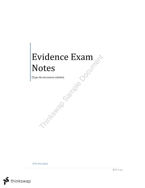 Evidence Notes - All Topics
