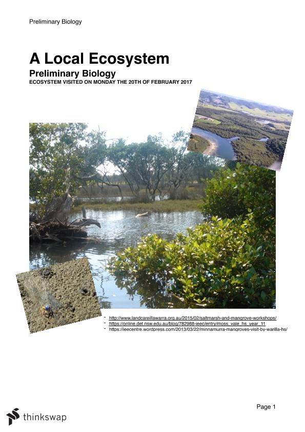 Preliminary Biology- A Local Ecosystem Report