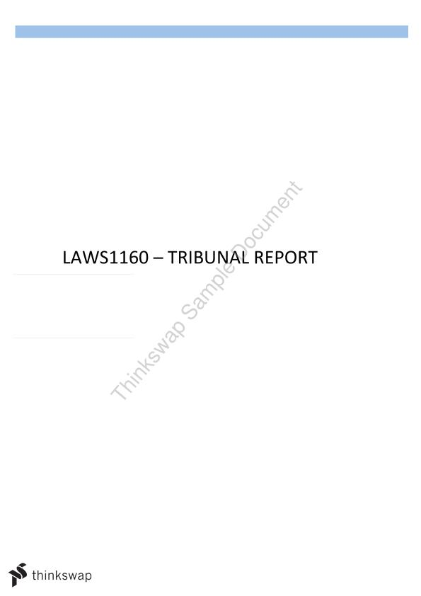Tribunal Report