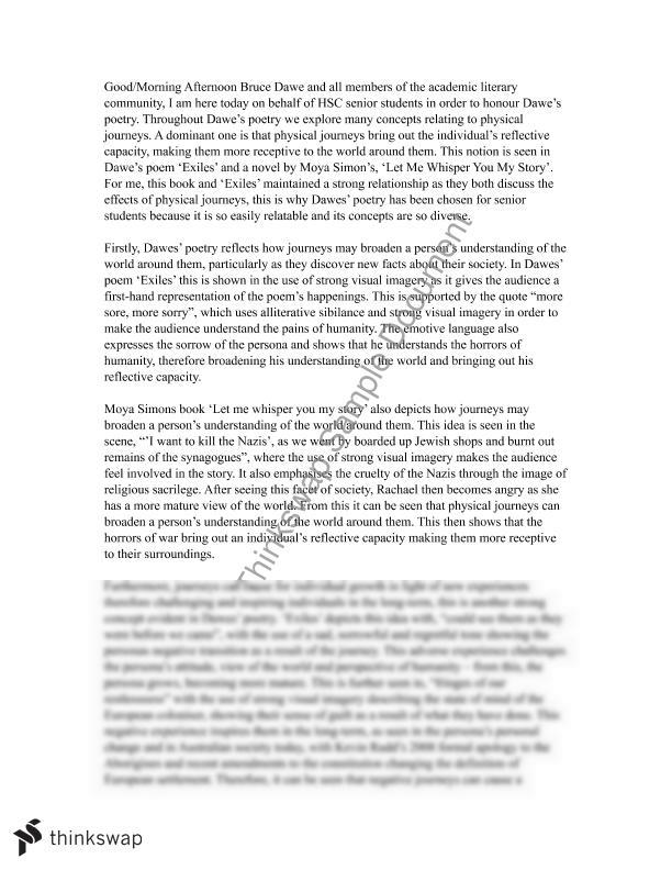 english essay speech for journeys year hsc english  english essay speech for journeys