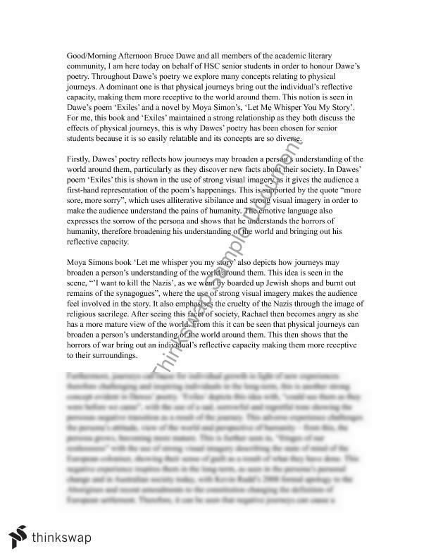 English Essay/Speech For Journeys