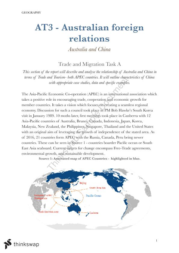 Australia and China Foreign Relations - APEC Essay