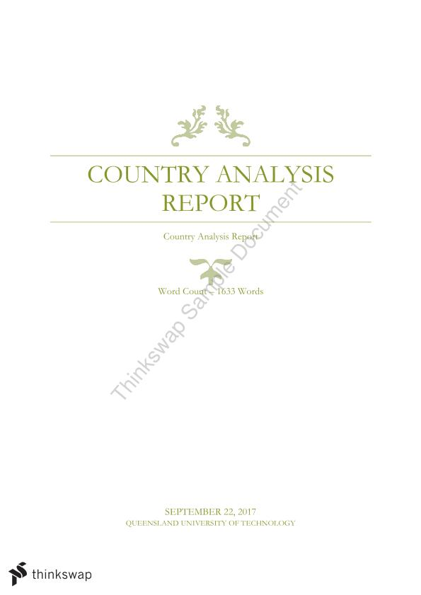 BSB119 - Global Business Sunshine Wines Country Analysis