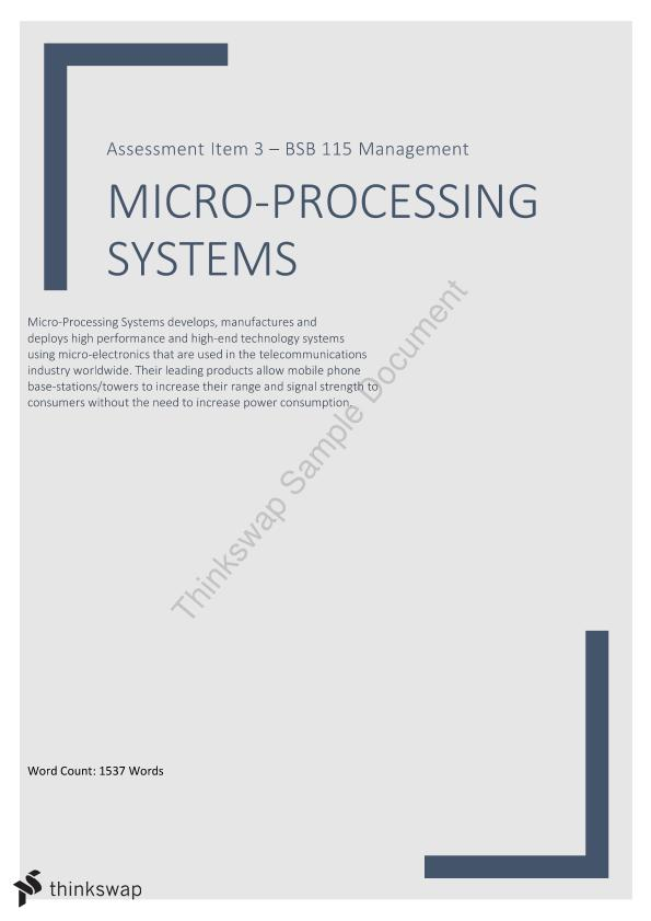 Business Report on Micro-Processing Systems Technology Company
