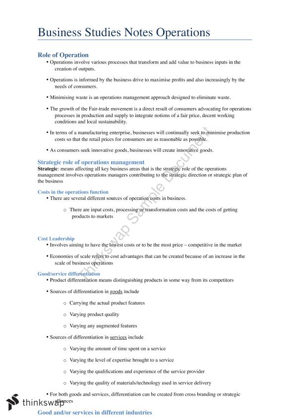 Business Studies Operations Notes