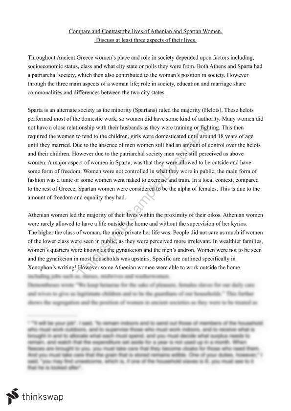 Classification Essay Thesis Statement Comparative Essay On The Lives Of Athenian And Spartan Women What Is A Synthesis Essay also Essay Paper Writing Comparative Essay On The Lives Of Athenian And Spartan Women  Year  Synthesis Essay Topic Ideas