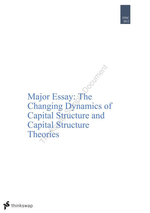 Dissertation capital structure and firm performance