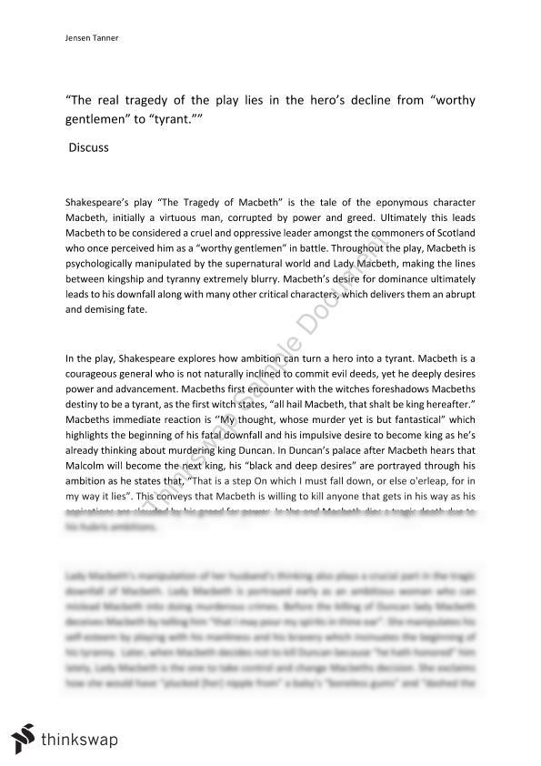 Macbeth Essay Year 11 VCE English Thinkswap