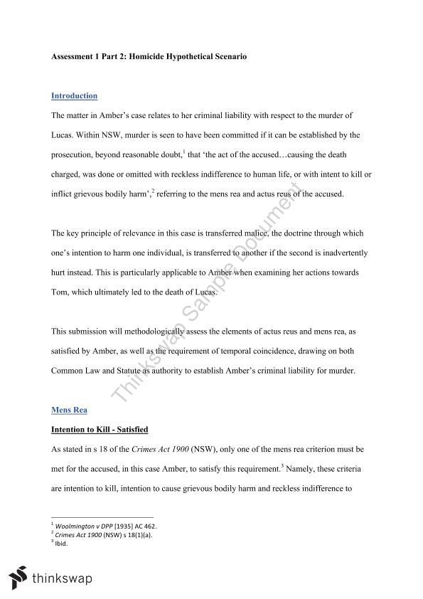 Intention in Criminal Law Essay Sample