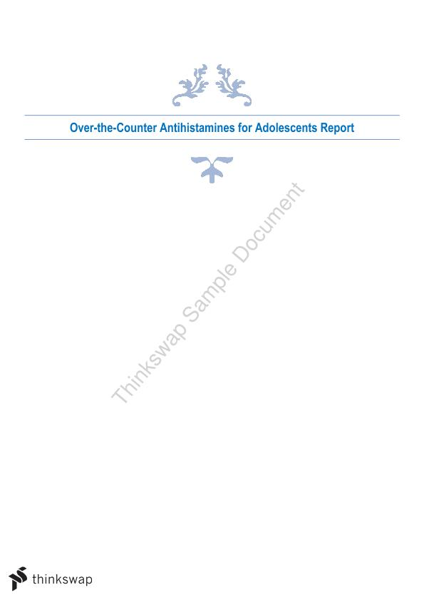 Over-the-Counter Antihistamines for Adolescents Report